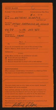 Entry card for Schepis, Anthony Joseph for the 1978 May Show.