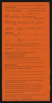 Entry card for Schlappal, Gary Allen for the 1978 May Show.