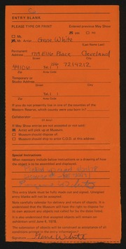 Entry card for White, Gene for the 1978 May Show.