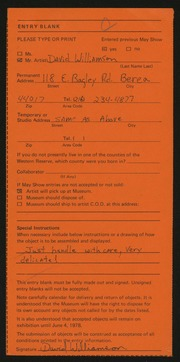 Entry card for Williamson, Dave (David E.) for the 1978 May Show.