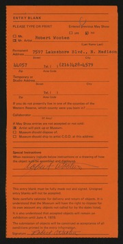 Entry card for Wooten, Robert for the 1978 May Show.