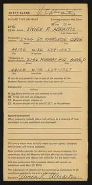 Entry card for Abraitis, Vivien R. for the 1979 May Show.