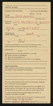 Entry card for Andres, Peter for the 1979 May Show.