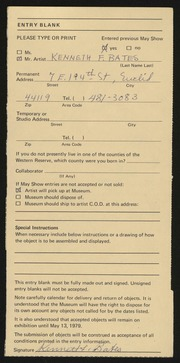Entry card for Bates, Kenneth F. for the 1979 May Show.