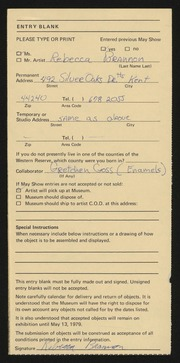Entry card for Brannon, Rebecca, and Goss, Gretchen for the 1979 May Show.