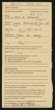 Entry card for Brooker, Moe A. for the 1979 May Show.