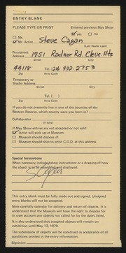 Entry card for Cagan, Steve for the 1979 May Show.