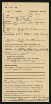 Entry card for Cahen, Alfred, and Volper, Israel; Fenton, Alan D. for the 1979 May Show.