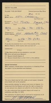 Entry card for Carroll, Neil for the 1979 May Show.