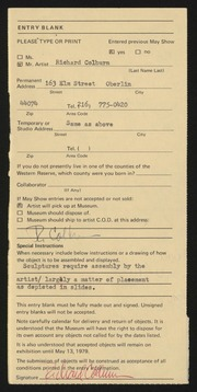 Entry card for Colburn, Richard William for the 1979 May Show.