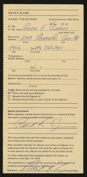 Entry card for Corrigan, Patrick Kevin for the 1979 May Show.