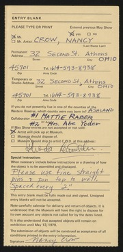 Entry card for Crow, Nancy, and Raber, Mattie; Yoder, Mrs. Abe for the 1979 May Show.