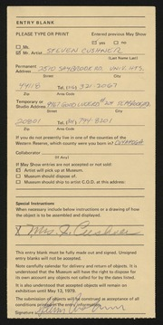 Entry card for Cushner, Steven for the 1979 May Show.
