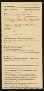 Entry card for Diller, Janice Sue for the 1979 May Show.