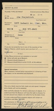 Entry card for Frajndlich, Abraham Samuel for the 1979 May Show.