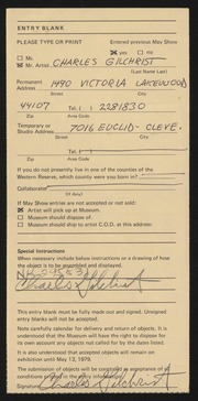 Entry card for Gilchrist, Charles for the 1979 May Show.
