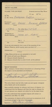 Entry card for Gillis, Barbara for the 1979 May Show.