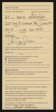 Entry card for Haberman, David Allen for the 1979 May Show.
