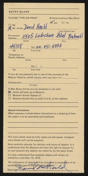 Entry card for Heald, David M. for the 1979 May Show.