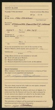 Entry card for Nevadomi, Ken for the 1979 May Show.