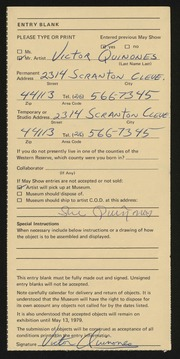 Entry card for Quinones, Victor for the 1979 May Show.