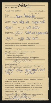 Entry card for Remington, James D. for the 1979 May Show.