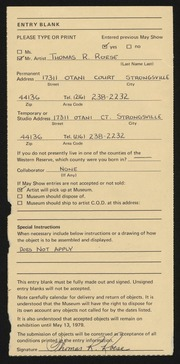 Entry card for Roese, Thomas R. for the 1979 May Show.