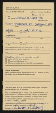 Entry card for Shewitz, Newson H. for the 1979 May Show.