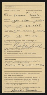 Entry card for Smukler, Barbara for the 1979 May Show.