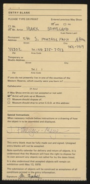 Entry card for Soppeland, Mark for the 1979 May Show.