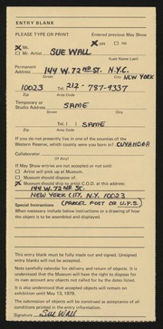 Entry card for Wall, Sue for the 1979 May Show.