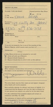 Entry card for Webb, Donna for the 1979 May Show.