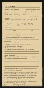 Entry card for Wells, Gary for the 1979 May Show.