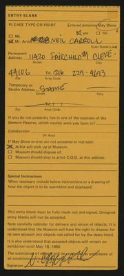 Entry card for Carroll, Neil for the 1980 May Show.