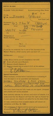 Entry card for Colburn, Richard William for the 1980 May Show.
