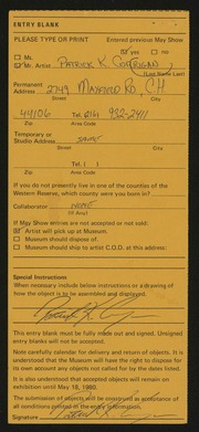 Entry card for Corrigan, Patrick Kevin for the 1980 May Show.