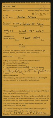 Entry card for Cooper, Gwen Voran for the 1980 May Show.