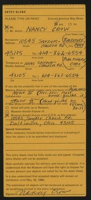 Entry card for Crow, Nancy, and Brill, Velma for the 1980 May Show.