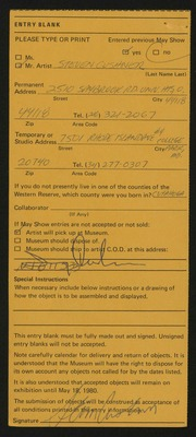 Entry card for Cushner, Steven for the 1980 May Show.