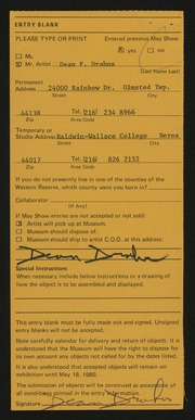 Entry card for Drahos, Dean Franklin for the 1980 May Show.