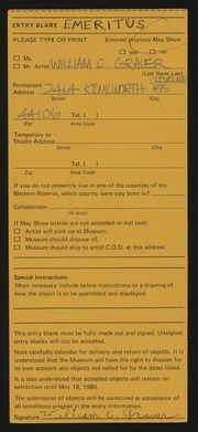 Entry card for Grauer, William C. for the 1980 May Show.