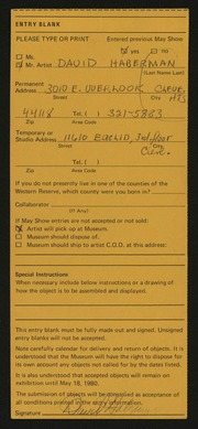 Entry card for Haberman, David Allen for the 1980 May Show.