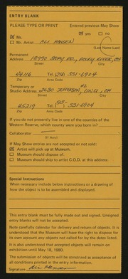 Entry card for Hansen, Alice Jean for the 1980 May Show.