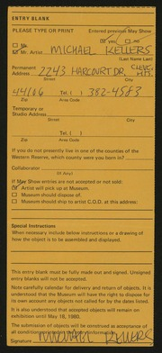 Entry card for Kellers, Michael for the 1980 May Show.