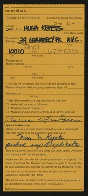 Entry card for Kepets, Hugh for the 1980 May Show.
