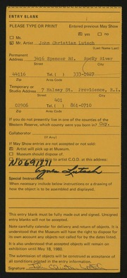Entry card for Lutsch, John C.  for the 1980 May Show.