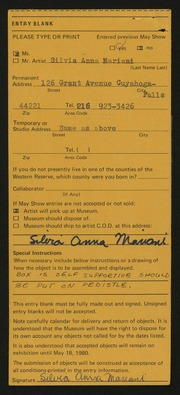 Entry card for Mariani, Silvia Anna for the 1980 May Show.