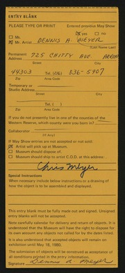 Entry card for Meyer, Dennis A. for the 1980 May Show.