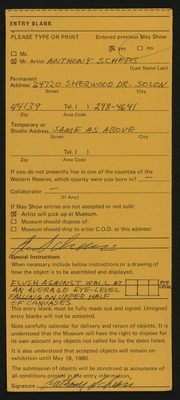 Entry card for Schepis, Anthony Joseph for the 1980 May Show.