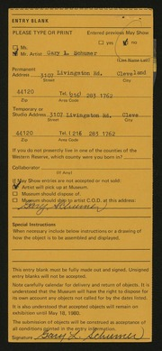 Entry card for Schumer, Gary for the 1980 May Show.